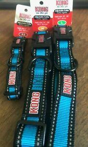 Kong On the Go Comfort adjustable collar black plastic buckle Assorted Blue/Aqua
