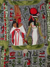 """New listing Antique 20's Egyptian Revival Pharhaoh Cleopatra Cotton Fabric 31"""" W X 2 Yds+"""