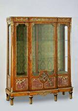 Antique Vitrine, Louis XVI Style Bibliotheque Bookcase w Marble Panels, Vintage