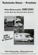 Preisliste Hehn Reisemobil Mercedes Sprinter 2002 2003 Wohnmobil motorhome