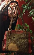 Ellen Tracy Leather Suede Cheetah Print Pony Hair Fur Bag Handbag Purse, Medium