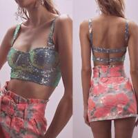 Woman Sleeveless Crop Tank sequins buckle Crop Top Padded Crop Vest 2Color S-L