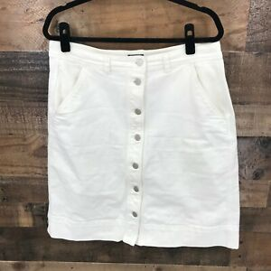 Ann Taylor Factory Women's White Button Front Midi Denim Skirt Size 12