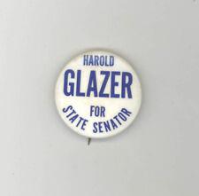 1960s HAROLD GLAZER Connecticut Political Button PINBACK Pin SENATE Norwalk CT