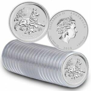 2018 Australia 1 oz Perth .9999 Silver Lunar Dog (from mint roll, in capsule)