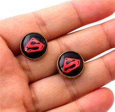 Superman Design Round Ear Stud Jewels Round Vintage Bronze Plated Metal Earrings