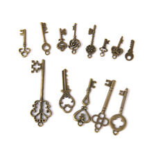 13 Antique Bronze Skeleton Key Pattern Charms Pendant for Jewelry Making DIY