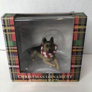 Sandicast Lying German Shepherd w/ Scarf Christmas Dog Ornament