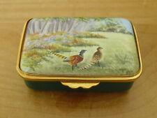 "Ltd Ed Kingsley Enamels/Stephen Smith Pheasants/Countryside Enamel Box - <2 5/8"""