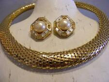 CHRISTIAN Dior Pearl Rhinestone EARRINGS & Mesh Snake Collar NECKLACE vTG