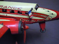 JEU c.1950 TOY AIRPLANE AVION JOUSTRA AIR FRANCE jouet en tôle avec mécanisme !!