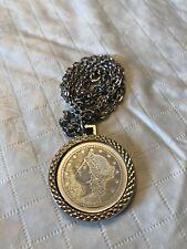 "Vintage Silver Tone Necklace ""1776"" Coin Style ""Twenty D"" Pendant w/ 24"" chain"