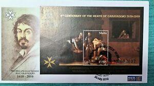 RARE Malta 2010 FDC. Caravaggio 400 years of his Death with Gold Inscription
