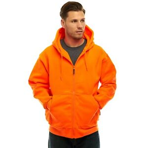 TrailCrest Men's Safety Blaze Orange / Camo Double Fleece Full Zip Hoodie