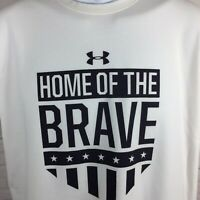 Under Armour Home of the Brave T-Shirt White Heatgear Shield Rock Size Small