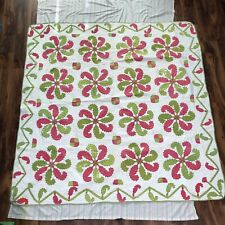 "72x72"" Handmade Quilt in Princess Feather Pea & Fuchsia of Pre-WWII Illinois"