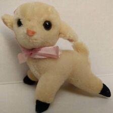 "Vtg Baby Lamb Toy Lovey Plush Mini Nursery Decor Hanger SAS70 50s Faux Mohair 4"""