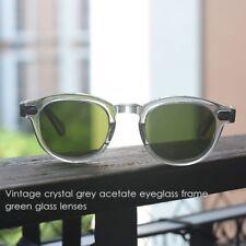 Retro Mens Gray Acetate frame green glass lens Glasses johnny depp Sunglasses