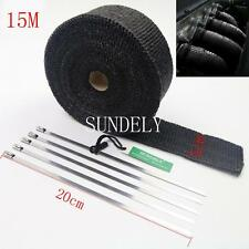 15M BLACK EXHAUST HEADER PIPE TAPE WRAP INSULATION CLOTH FIREPROOF COOL AIR