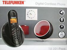TELEFUNKEN TB 201 PEPS HANDSFREE CORDLESS DESIGN TELEPHONE TELEFOON ZWART BLACK