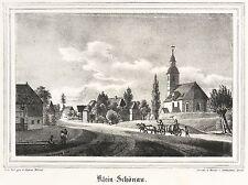 KLEINSCHÖNAU / SIENIAWKA - Ortsmitte & Filialkirche - Lithografie 1840
