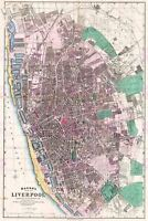 Map Bacon 1890 Liverpool City Plan Old Large Canvas Art Print