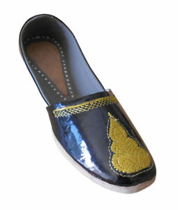 Men Shoes Indian Handmade Mojari Traditional Leather Black Loafers Jutties US 8