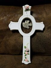 Vintage Russ Blessings Ceramic Cross Peter 3:18 Home Decor Mint