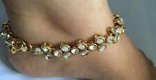 New Golden Kundan Anklet Ankle Chain Indian Payal Bollywood Single or Pair (1)