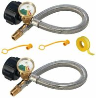 "(2 Pack) 1/4"" NPT RV Propane Pigtail Hoses with Gauge ,15 In Pigtail Connector"