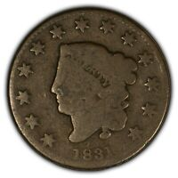 1831 1c Coronet Head Large Cent SKU-Y2427