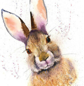 Limited Edition Print of HARE original watercolour by HELEN APRIL ROSE   156
