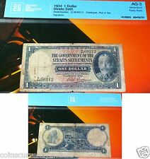 STRAITS SETTLEMENTS - King George 1934 One Dollar - $1Certified  & Protected