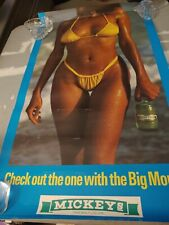 Sexy Girl Beer Poster Mickeys -Check out the one with the Big Mouth- Bikini