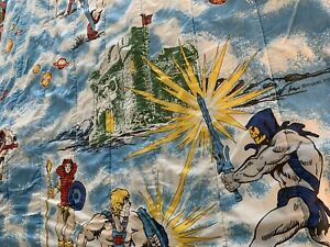 "Vintage 1983 MOTU He-Man Skeletor Twin Blanket Comforter 59""x76"" NICE RARE"