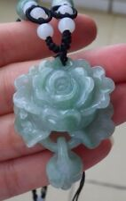 Certified Green Natural A Jade jadeite pendant Rose Flower W Rinn 花开富贵 433497
