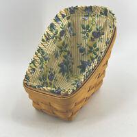 Vintage 1991 Longaberger Slanted Catalog Sleigh Basket Medium w/ Floral Liner