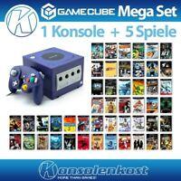 Nintendo GameCube - Konsole #lila + 5 Spiele + Controller + Zub.