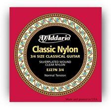 D'Addario EJ27N 3/4 Size Classical Guitar Clear Nylon Strings  Ships FREE U.S