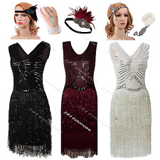 Vintage 1920s Flapper Dress Gatsby Sequin Beaded Fringed Party Roaring Costume