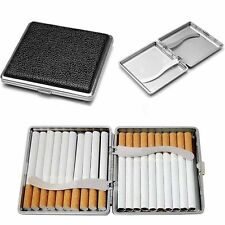 Pocket Leather Metal Cigarette Tobacco Case Holder Container Storage Box - Black
