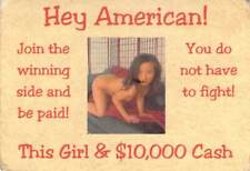"""This Girl & $10,000 Cash"" Vietnam Propaganda Card Urging Americans Not To Fight"