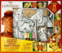 /& Markers Art Set-NEW Disney THE LION KING Color Your Own Posters 14 Pcs