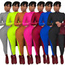 Sexy Women Solid Casual Zipper Long Sleeve Bodycon Night Club Jumpsuits 7 Colors