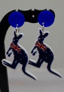 AUSTRALIA DAY stud earrings aussie KANGAROO  AUSTRALIA flagearrings