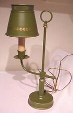 VINTAGE 60/70'S METAL AVOCADO GREEN METALLIC GOLD TOLE CANDLE STUDENT DESK LAMP
