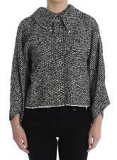 NWT $1400 DOLCE & GABBANA Black White Tweed Crystal Jacket Coat IT44 / US10 / L
