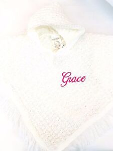 personalised plain KNITTED BABY GIRL HOODED PONCHO SHAWL CARDIGAN WRAP  NB-24MTH