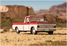 N Scale vehicle Ford Pickups -1973 Candy Apple/ White