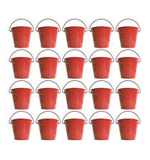 10 Red Tin Pail Buckets - Christmas Wedding Favours Parties Table Decoration